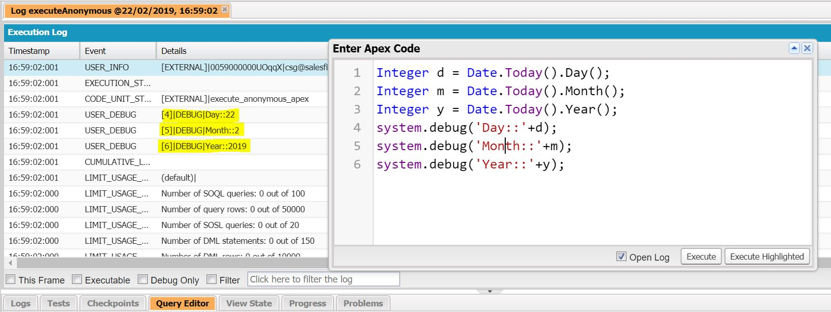 How To get Day, Month and Year values using Apex Class in Salesforce